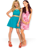 Ariana Grande and Jennette Mccurdy posing in the Nesquik Commercial