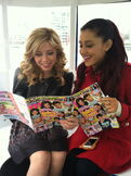 Ariana and Jennette reading magazines