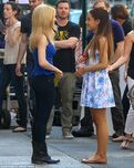 Jennette McCurdy and Ariana Grande chatting between takes of the Nesquik Commercial