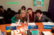 Jennette and Ariana at the table read for 102