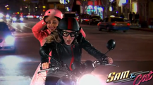 Sam and Cat riding a motorcycle in first promo