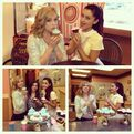 Ariana and Jennette decorating cupcakes with J-14 Magazine