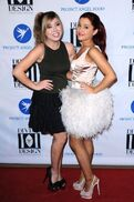 Jennette and Ariana posing in dresses at Project Angel Food Divine Design Gala in Los Angeles