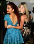Ariana & Jennette showing their backs at the Angel Awards 2011