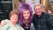Jennette with her grandparents on the set of Sam & Cat