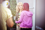 Jen and Ari on set during the production of the pilot