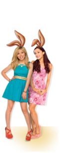 Ariana Grande and Jennette Mccurdy with bunny ears posing in the Nesquik Commercial