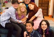 Dan Schneider with Ariana, Jennette, and the Guest Stars