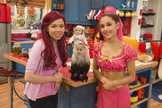 Sam and Cat with a monkey and a doll