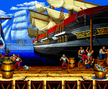 San Francisco stage, Samurai Shodown II version.