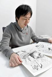 Kishimoto With Storyboards of Samurai 8
