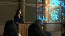 1x07 - Dr. Magnus giving a lecture as Tesla walks in