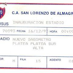 Ticket de entrada platea sur sobre la inauguración del Estadio