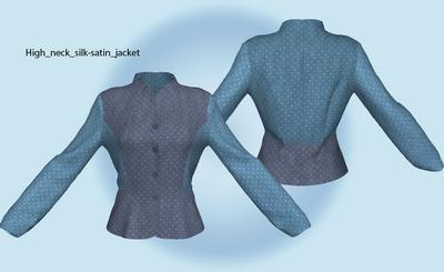 High neck silk-satin jacket