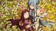 Yuuki en brazos de Asuna
