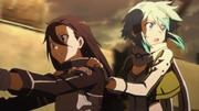 Kirito y Sinon huyen