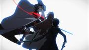 Asuna recibiendo golpe