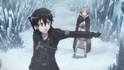 Kirito y Lis en la montaña helada