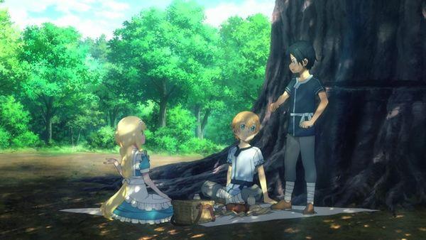 Eugeo, Alice und Kirito essen gemeinsam