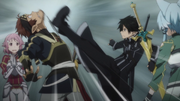 Kirito getting Klein to be quiet