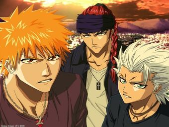 Bleach kurosaki ichigo bandana hitsugaya toshiro abarai renji anime boys braids white hair orange ha www.wallpaperswa.com 75