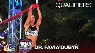 Dr Favia Dubyk at the Dallas Qualifiers. Favia Dubyk at the Dallas City Qualifiers - American Ninja Warrior 2018