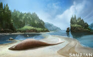 Beached mosasaur