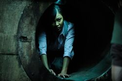 Luba in the bomb shelter