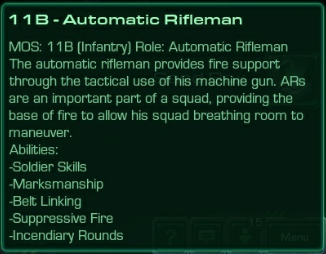 11B Automatic Rifleman