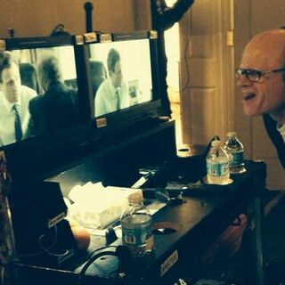 Director Paul McCrane watching a scene with <a href=