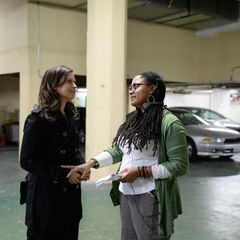 Director Ava DuVernay giving direction to <a href=