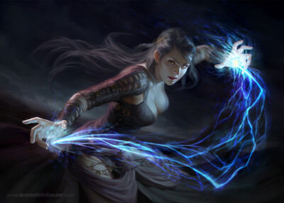 640x457 19608 Spark 2d fantasy mage lightning spell fight picture image digital art