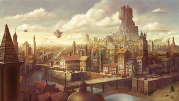 1200x677 1289 Old empire city 2d fantasy city airship empire architecture picture image digital art