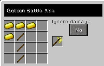 Golden battle axe recipe