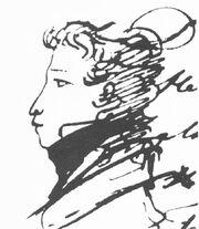 Pushkin Alexander, self portret, 1820s