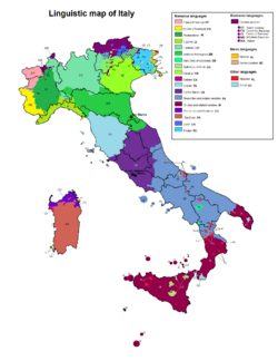 Linguistic map of Italy