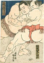 Kunisada Sumo Triptychon c1860s center