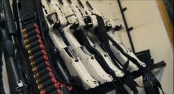 Vektor CR-21 Rifles with White Stocks and Ammo Belts