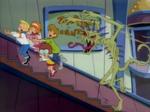 Stinkweed chases gang up escalator