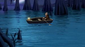 Tulie sings in boat
