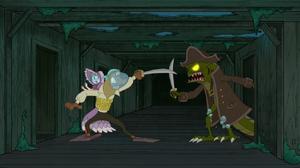 Scoob swordfights sea creature