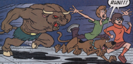Shag, Scoob and Velma chased by the Minotaur Ghost