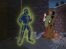 Neon Phantom behind Shaggy, Scooby and Scrappy