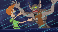 Shag and Scoob meet gremlin outside