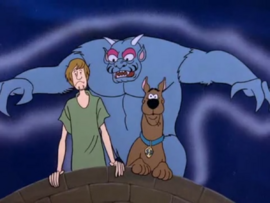 Moon Monster behind Shaggy and Scooby