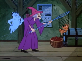 Witch catches Scrappy in net