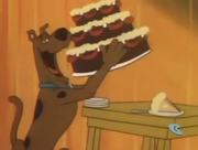 Scoob eats whole birthday cake