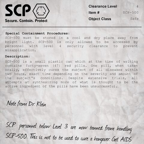 <b>SCP-500'</b>s document