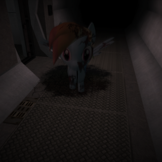 Rainbow Dash emerging from the ground.