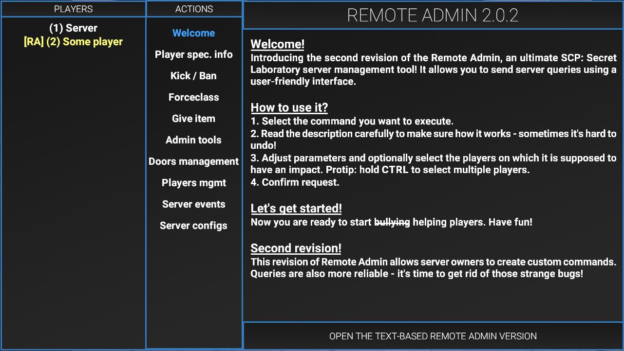 Панель управления сервером | SCP: Secret Laboratory вики
